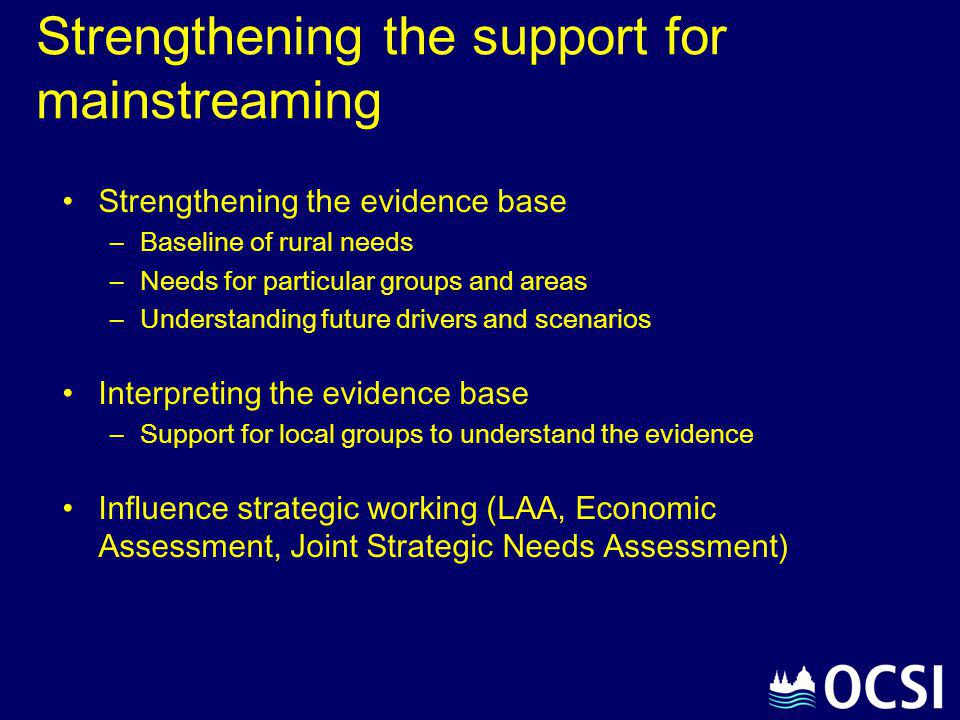 Strengthening the support for mainstreaming