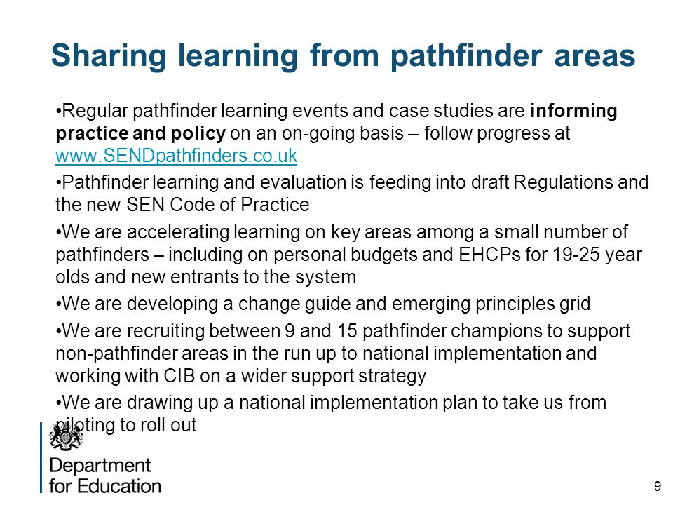 Sharing learning from pathfinder areas