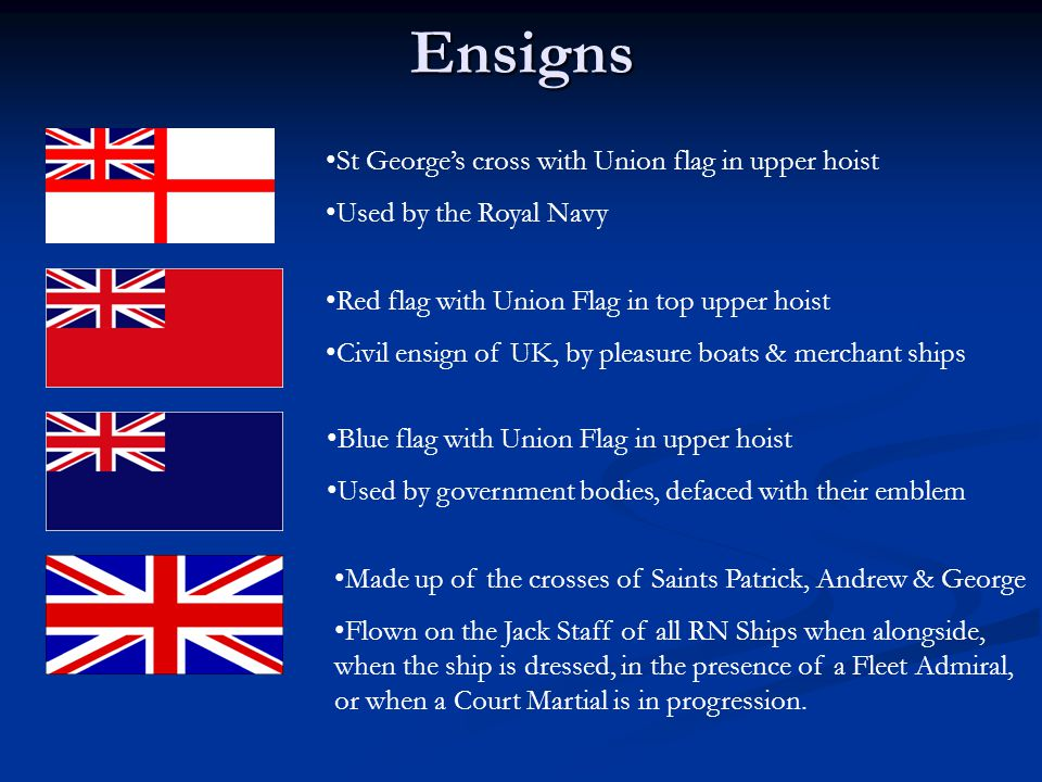 Ensigns St George's cross with Union flag in upper hoist