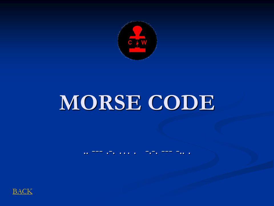 MORSE CODE .. --- .-. … . -.-. --- -.. . BACK