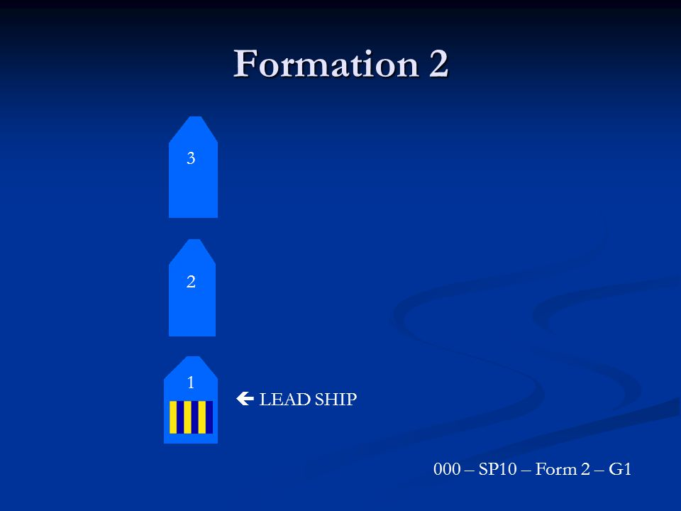 Formation 2 3 2 1  LEAD SHIP 000 – SP10 – Form 2 – G1