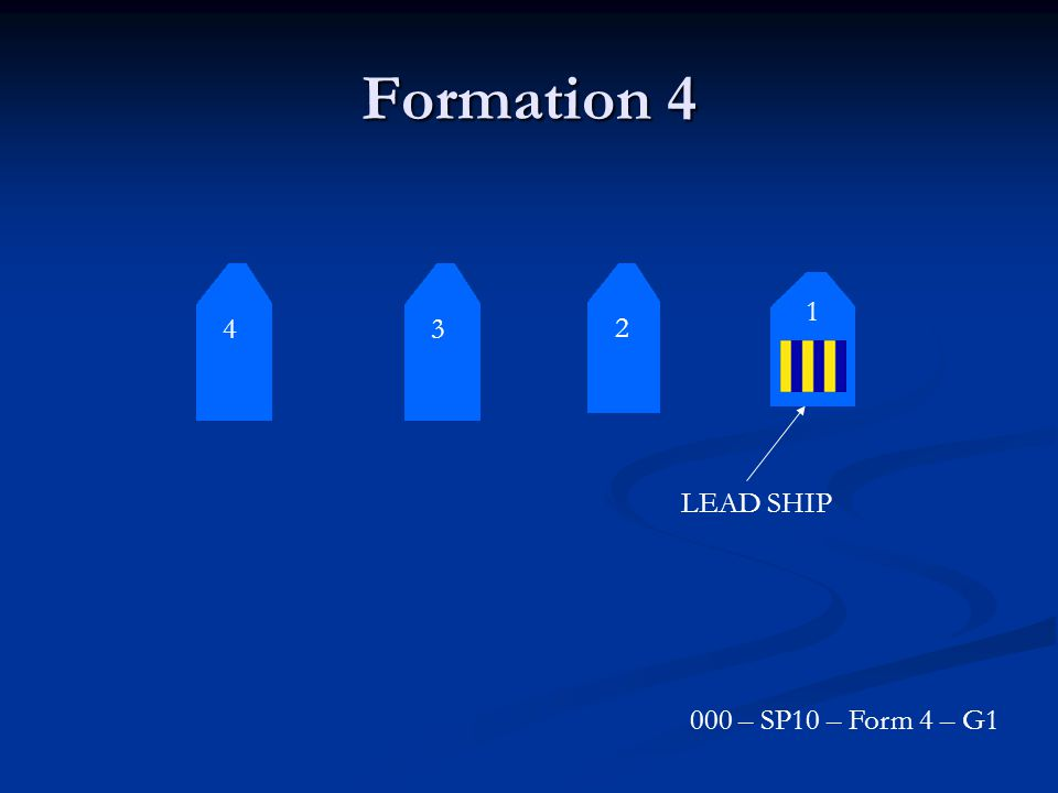Formation 4 4 3 2 1 LEAD SHIP 000 – SP10 – Form 4 – G1