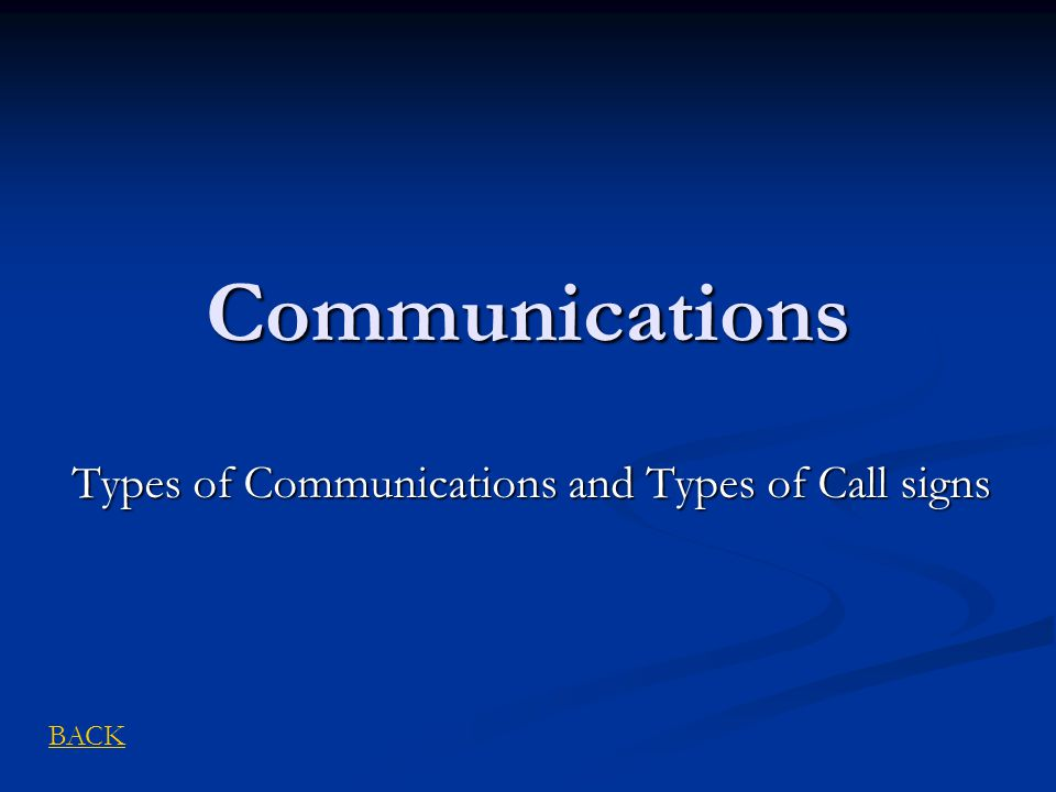 Types of Communications and Types of Call signs