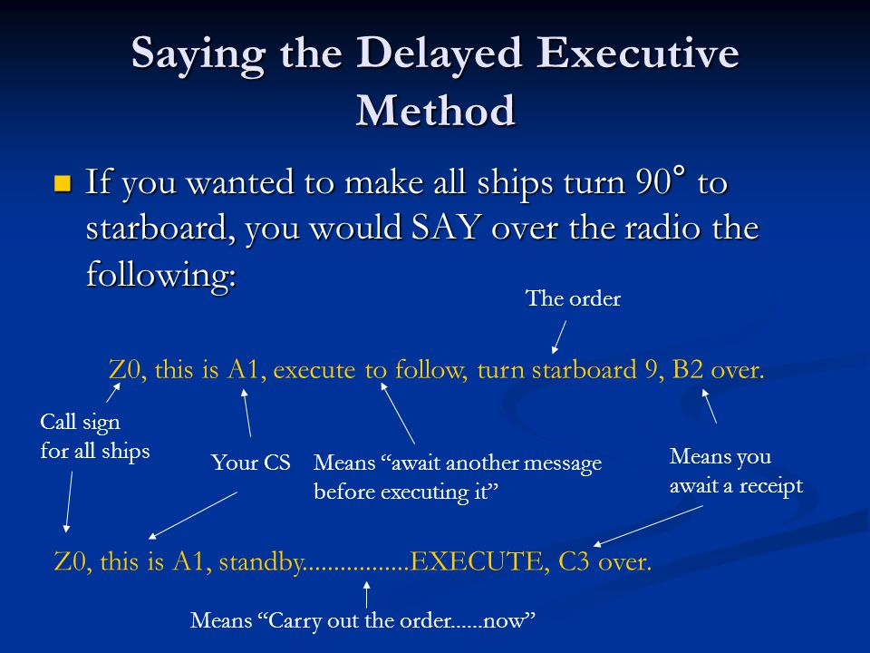 Saying the Delayed Executive Method