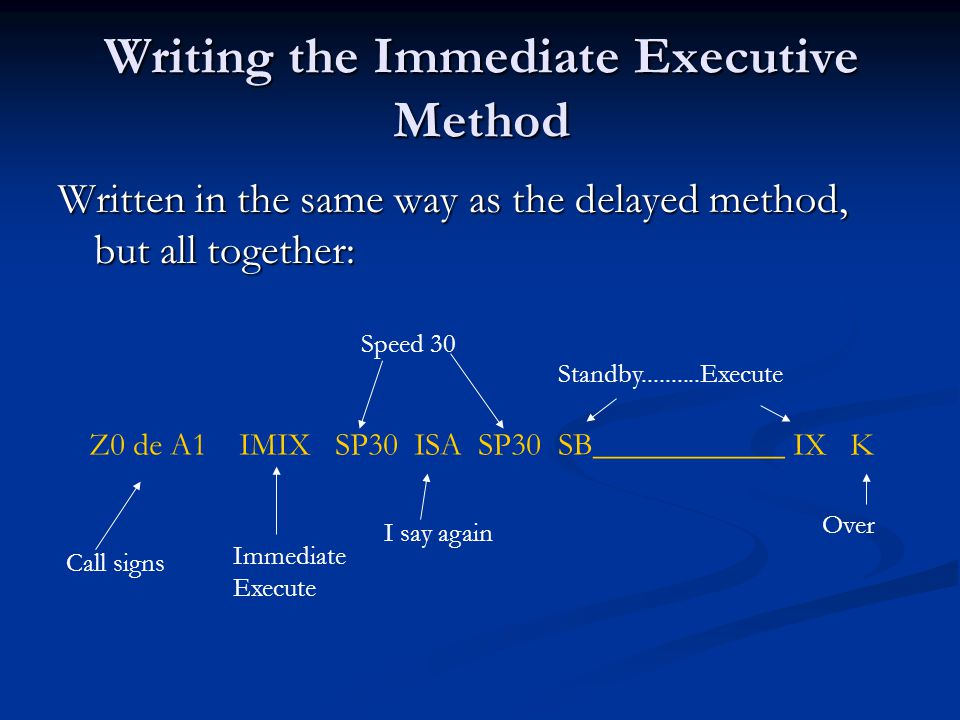 Writing the Immediate Executive Method