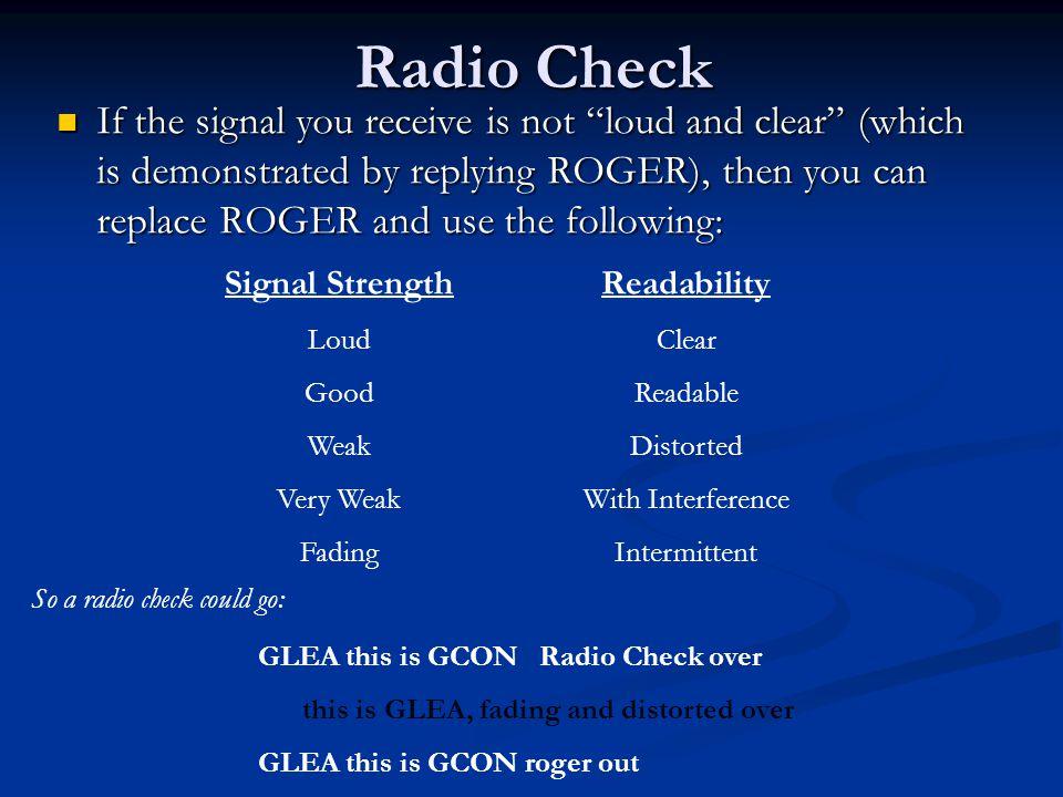 Radio Check
