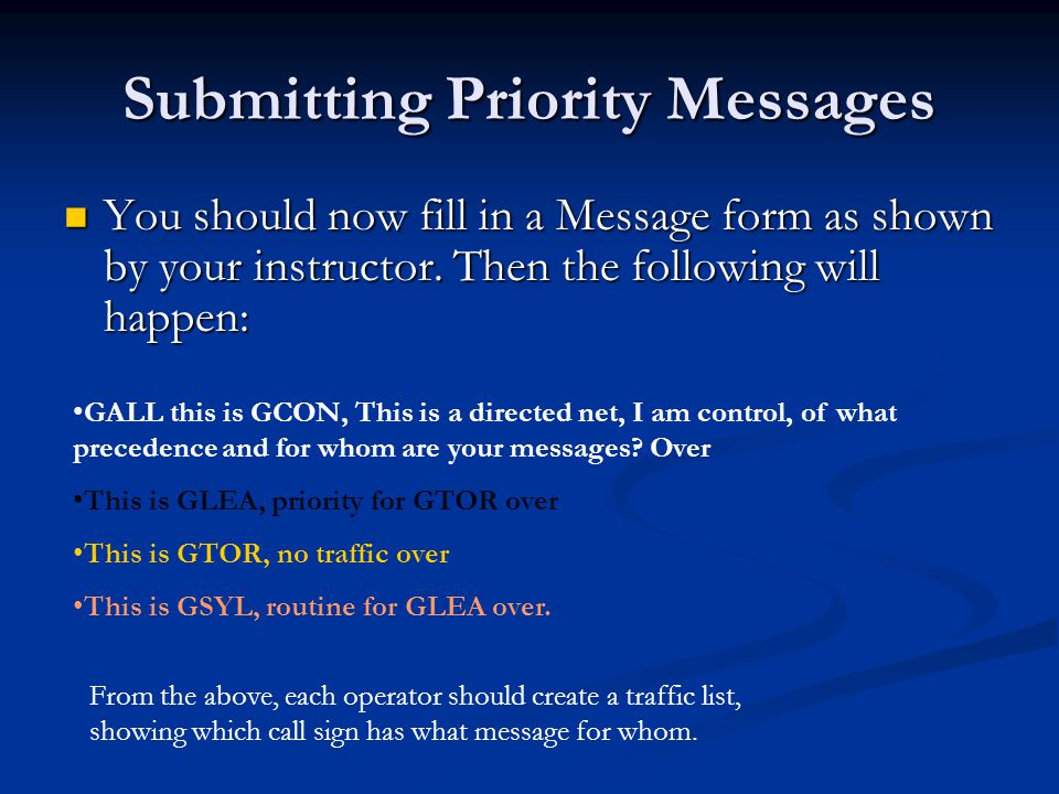 Submitting Priority Messages