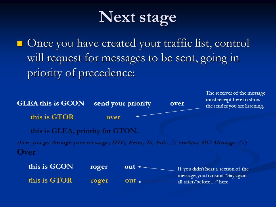 Next stage Once you have created your traffic list, control will request for messages to be sent, going in priority of precedence: