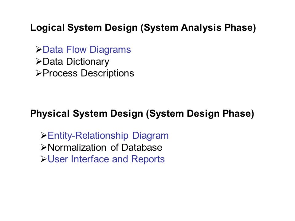 Logical System Design (System Analysis Phase)