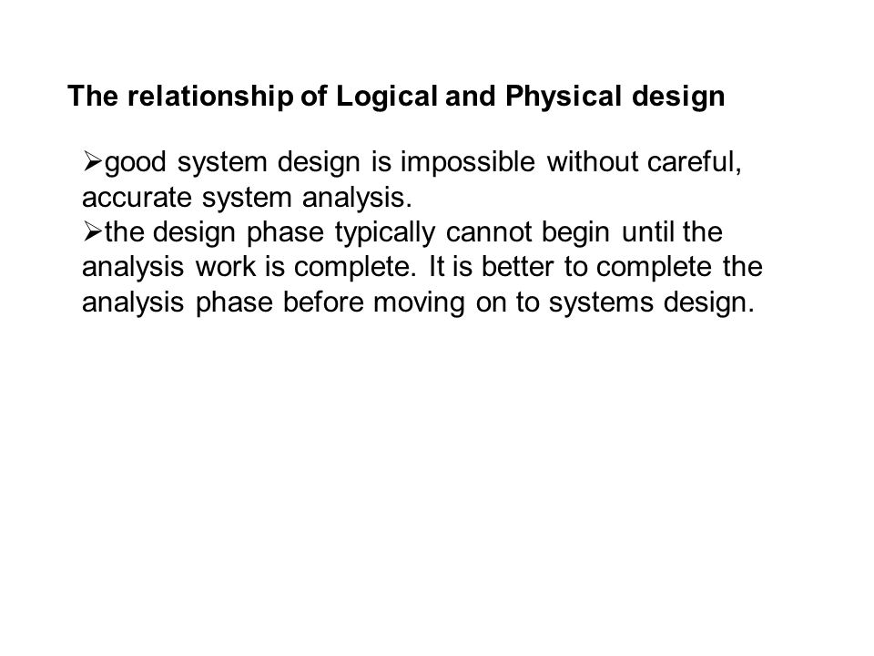 The relationship of Logical and Physical design