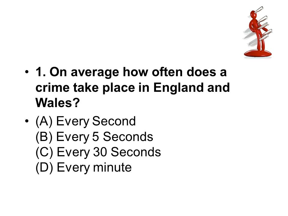 1. On average how often does a crime take place in England and Wales