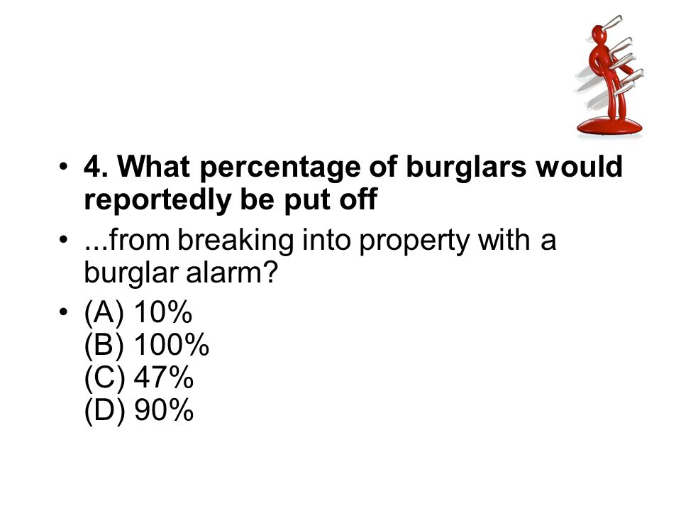 4. What percentage of burglars would reportedly be put off