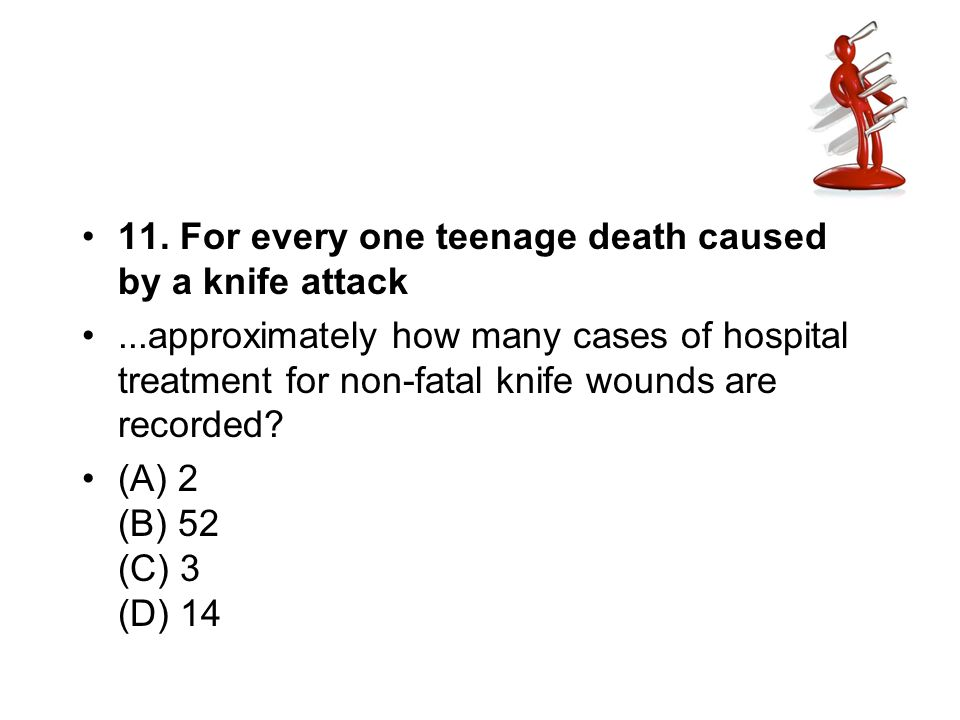 11. For every one teenage death caused by a knife attack