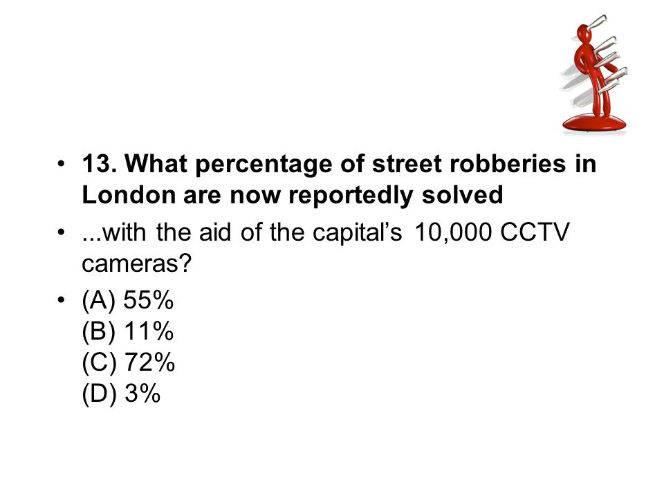 13. What percentage of street robberies in London are now reportedly solved