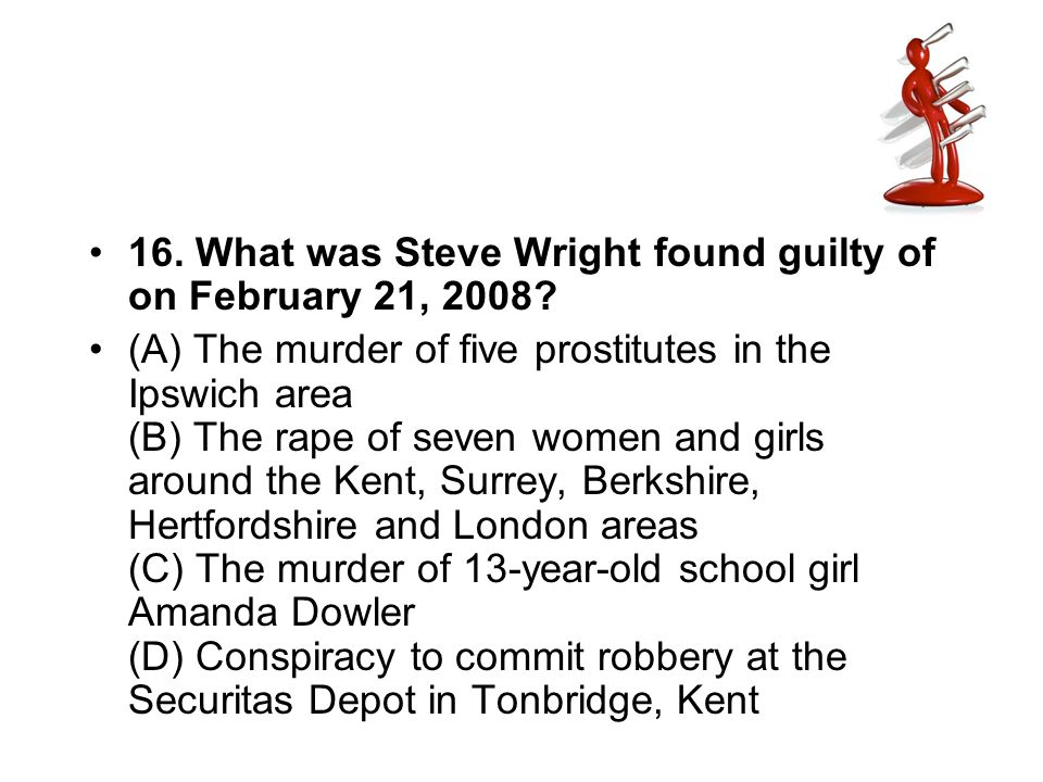 16. What was Steve Wright found guilty of on February 21, 2008