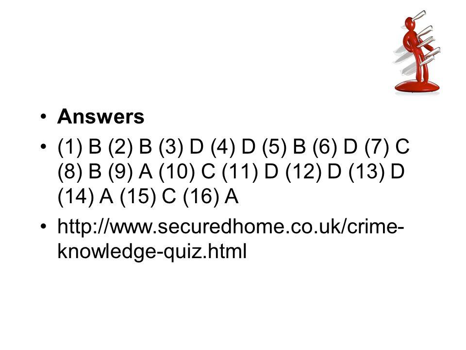 Answers (1) B (2) B (3) D (4) D (5) B (6) D (7) C (8) B (9) A (10) C (11) D (12) D (13) D (14) A (15) C (16) A.