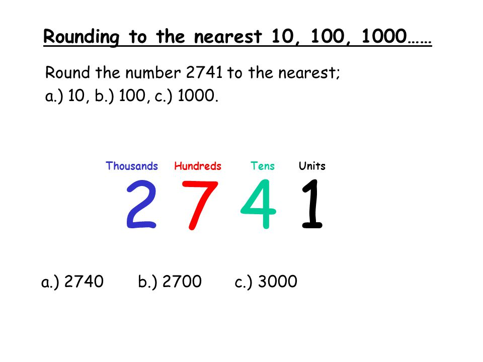 Rounding to the nearest 10, 100, 1000……