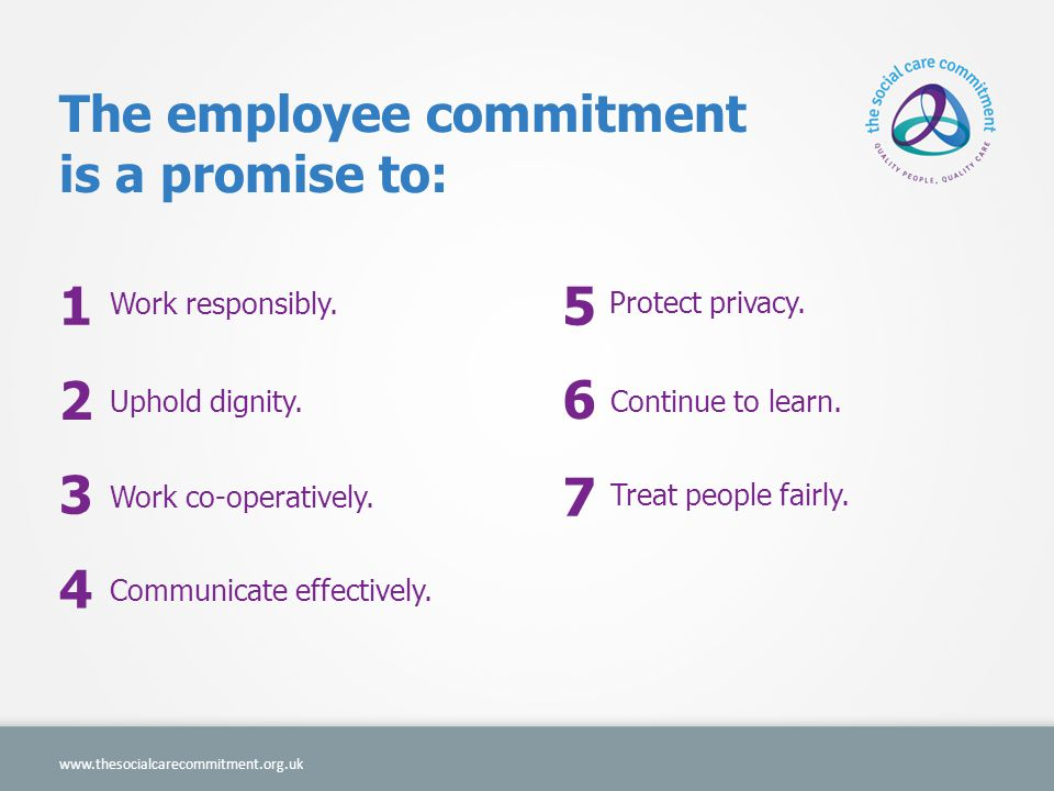 1 5 2 6 3 7 4 The employee commitment is a promise to: