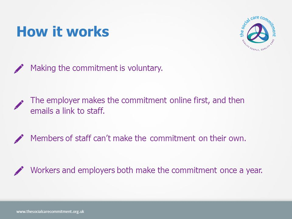 How it works Making the commitment is voluntary.