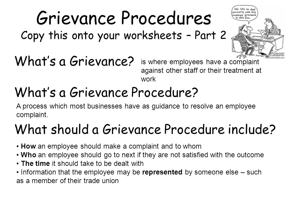 Grievance Procedures Copy this onto your worksheets – Part 2