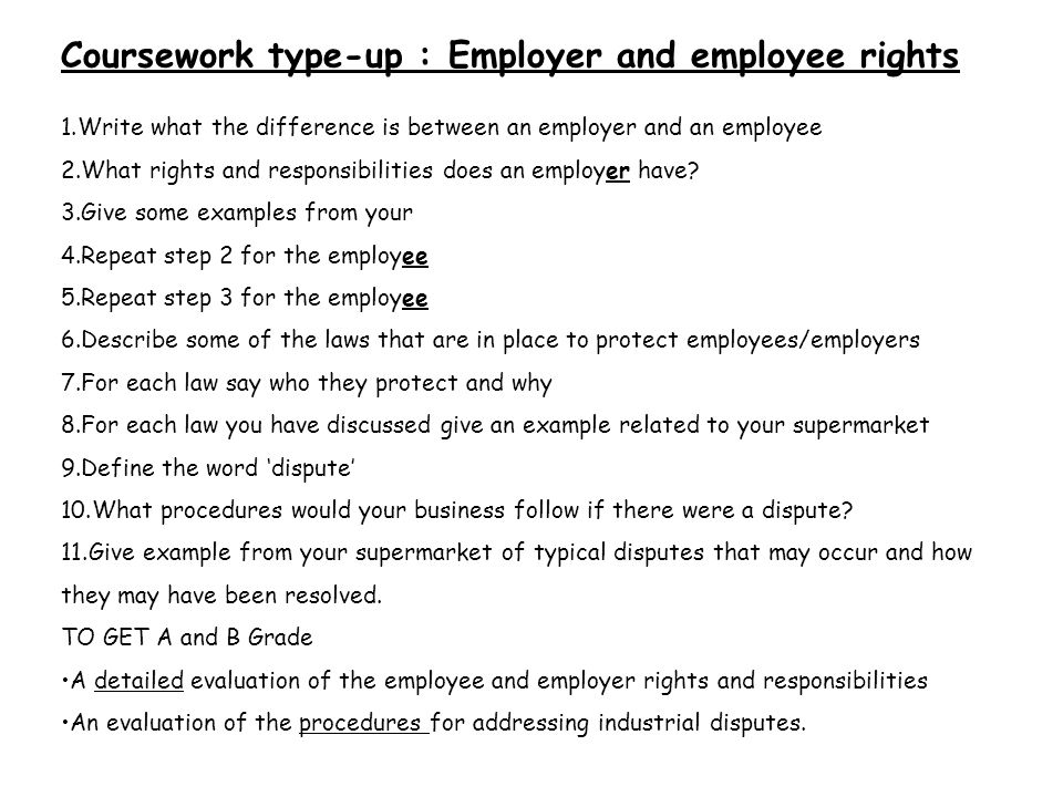 Coursework type-up : Employer and employee rights
