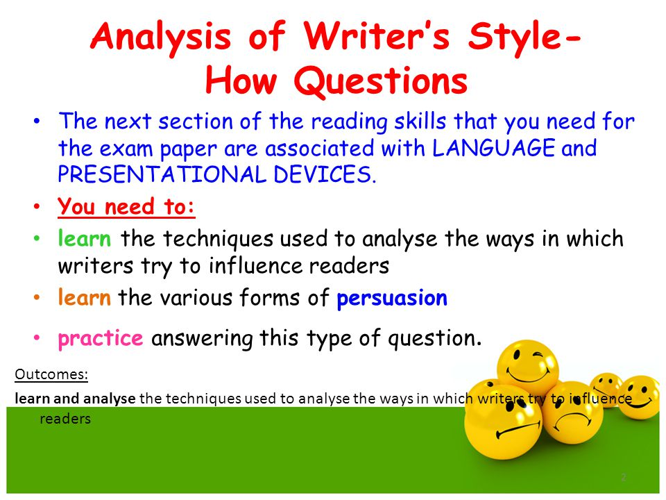 Analysis of Writer's Style- How Questions