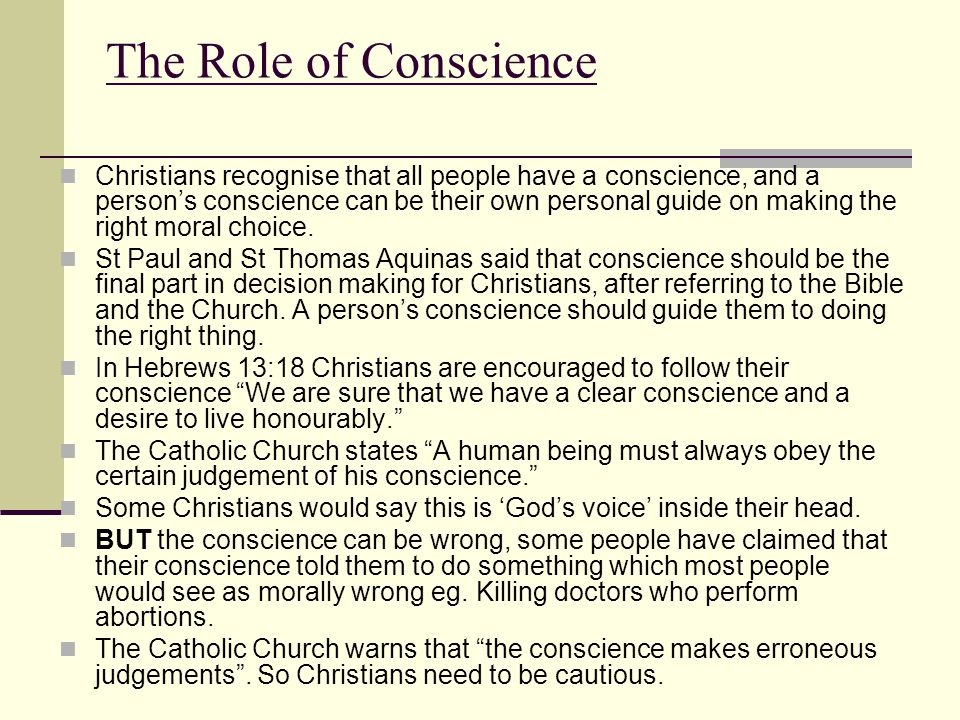 The Role of Conscience