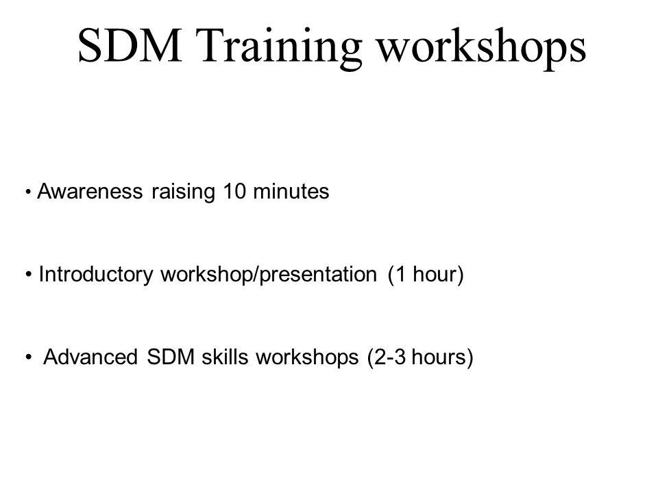 SDM Training workshops