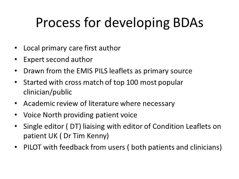 Process for developing BDAs