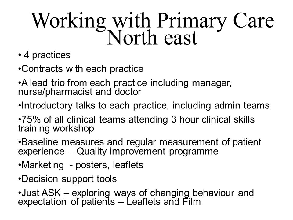 Working with Primary Care
