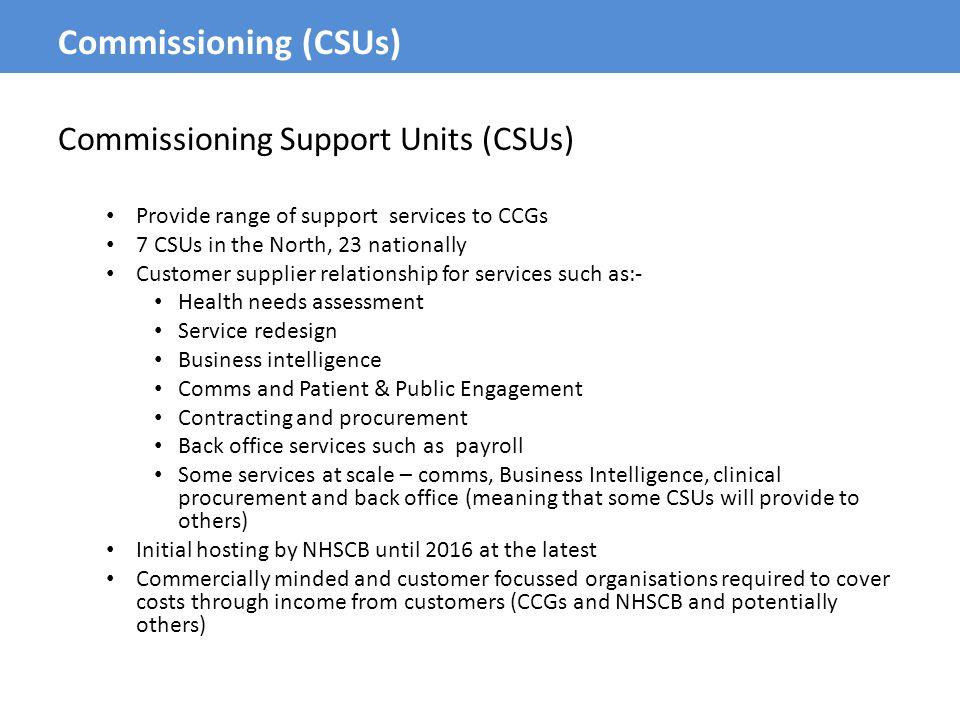 Commissioning (CSUs) Commissioning Support Units (CSUs)