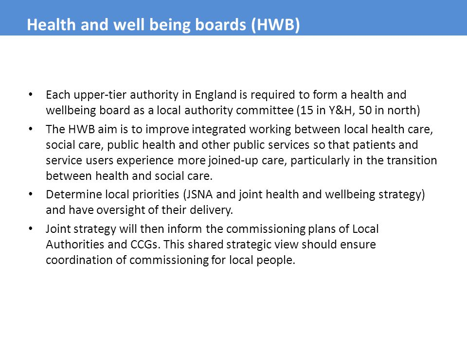 Health and well being boards (HWB)