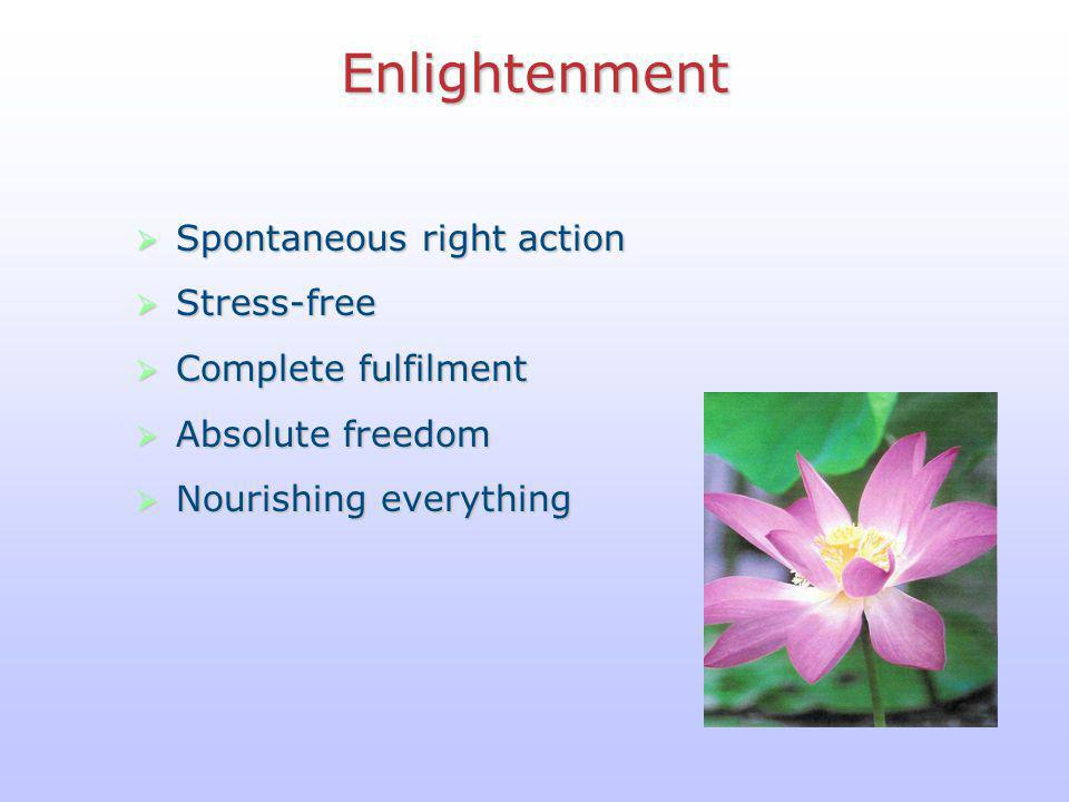 Enlightenment Spontaneous right action Stress-free Complete fulfilment