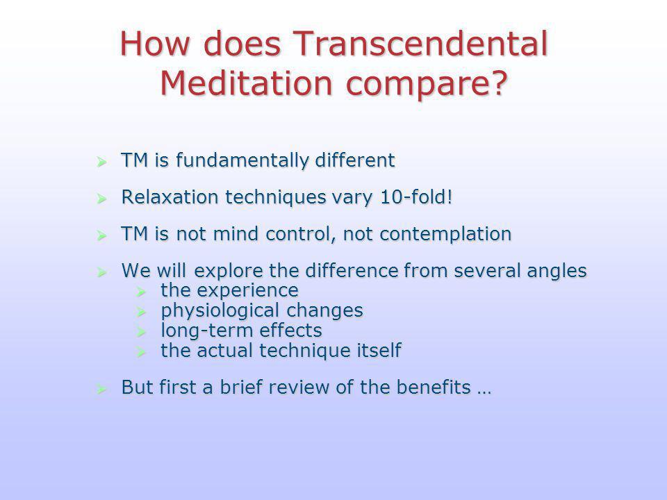 How does Transcendental Meditation compare