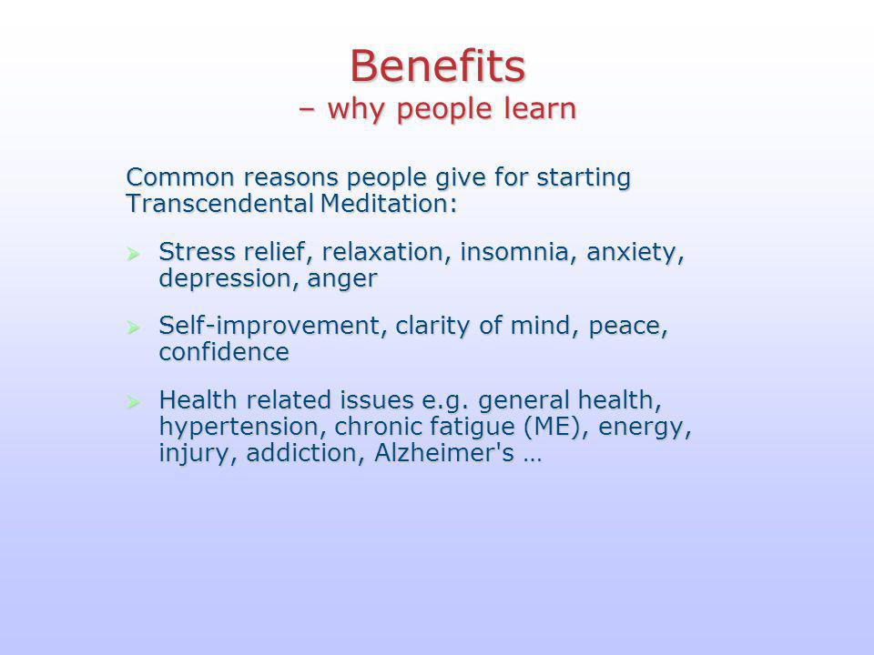 Benefits – why people learn