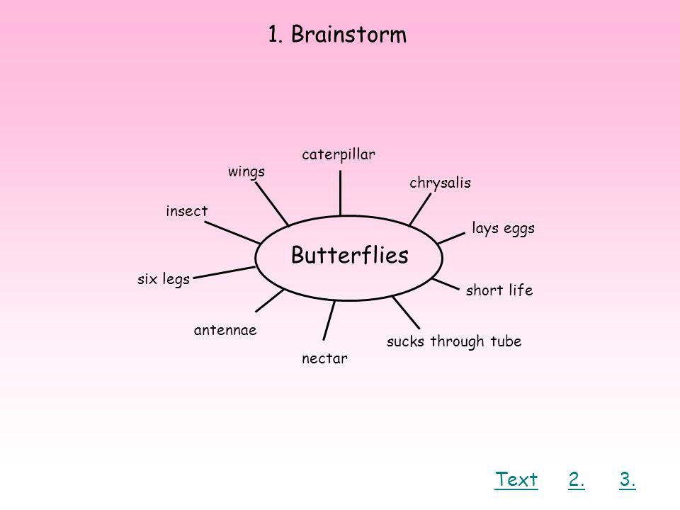 1. Brainstorm Butterflies Text 2. 3. caterpillar wings chrysalis