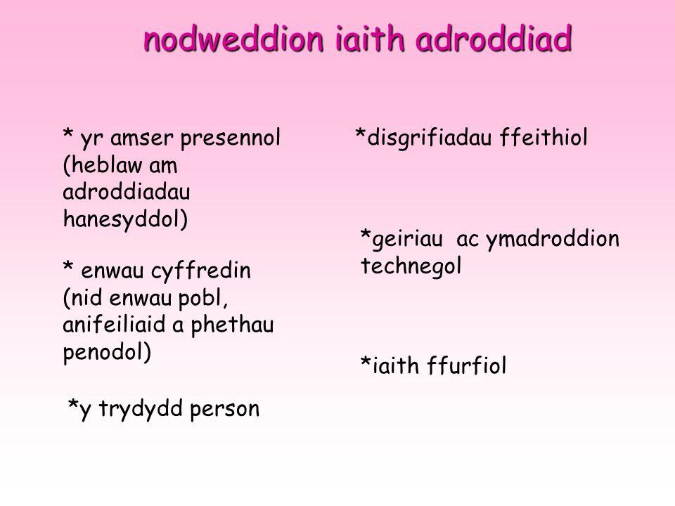 nodweddion iaith adroddiad