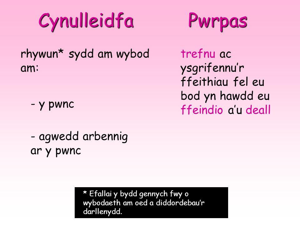 Cynulleidfa Pwrpas rhywun* sydd am wybod am: