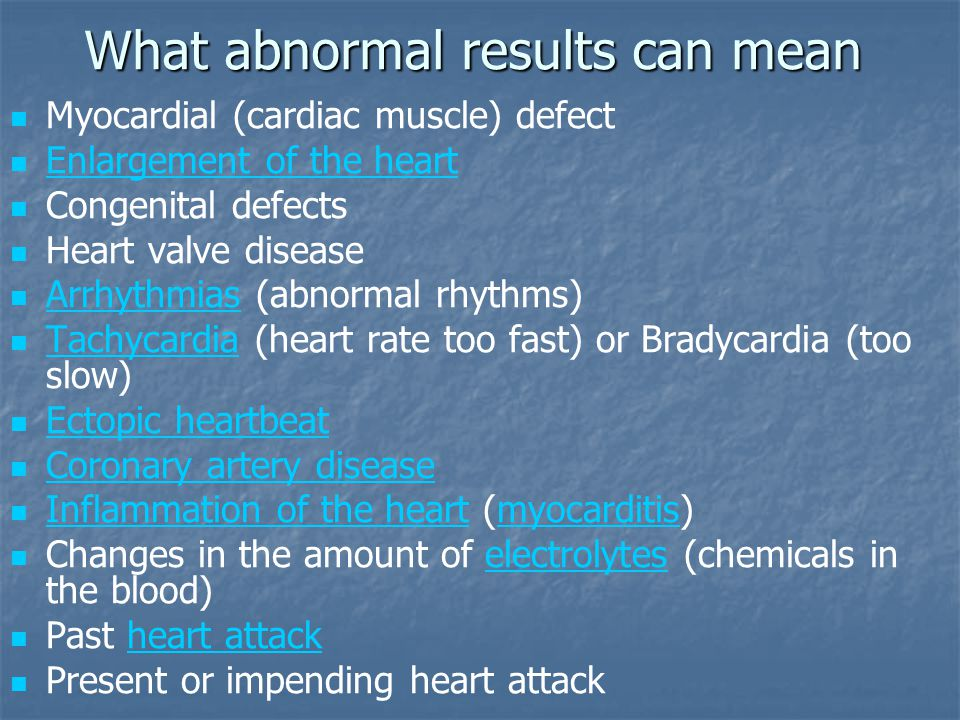 What abnormal results can mean