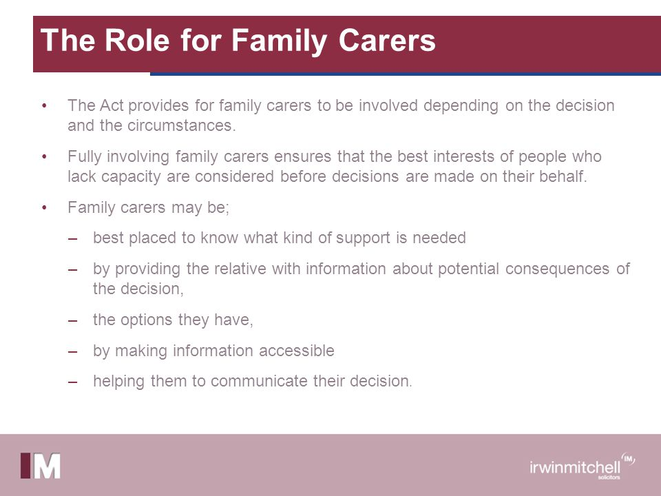 The Role for Family Carers