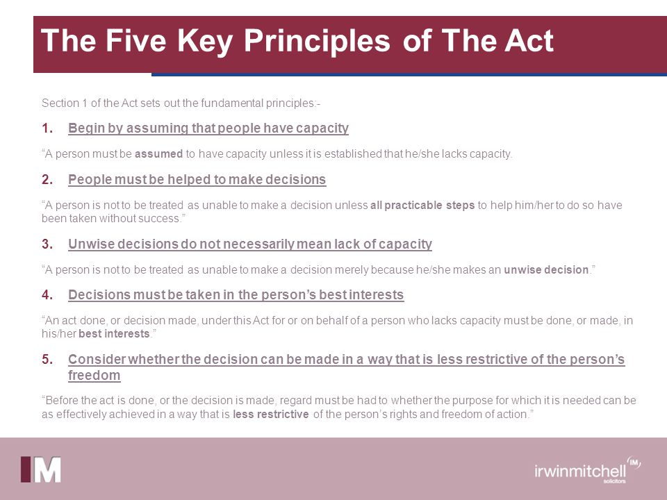 The Five Key Principles of The Act