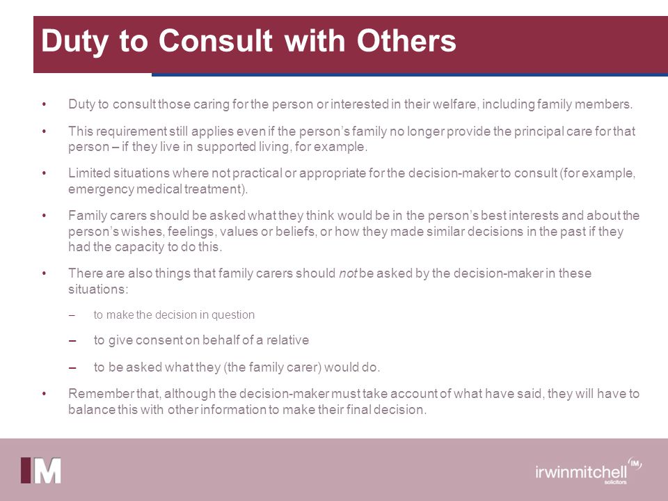 Duty to Consult with Others