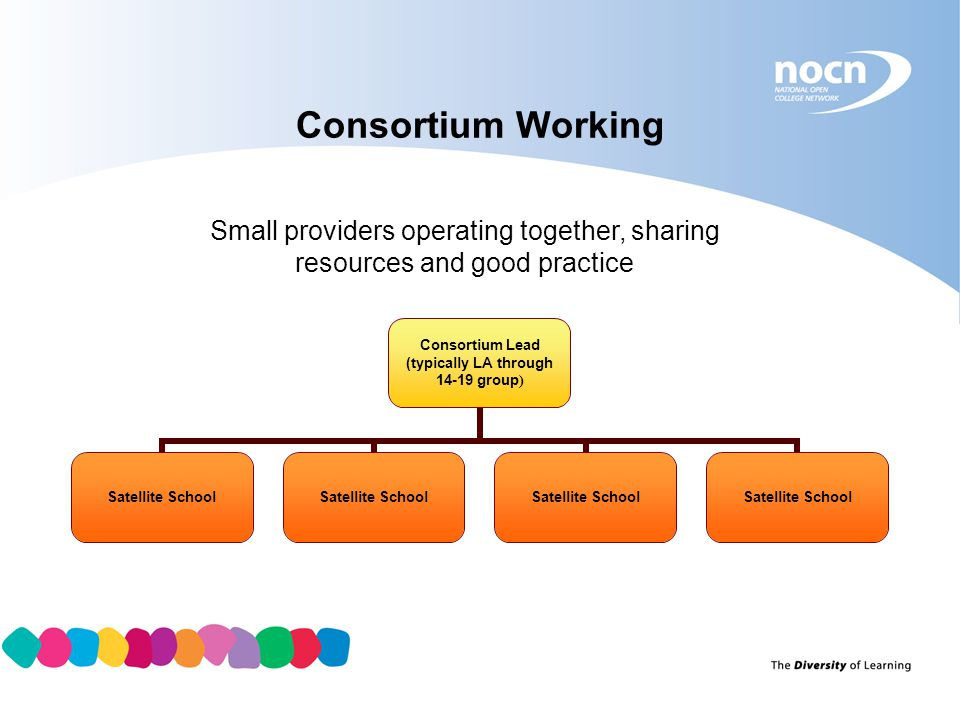 Consortium Working Small providers operating together, sharing resources and good practice