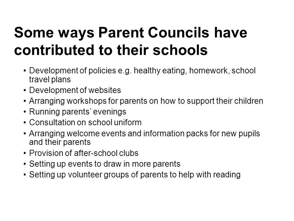 Some ways Parent Councils have contributed to their schools