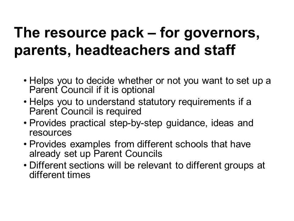 The resource pack – for governors, parents, headteachers and staff