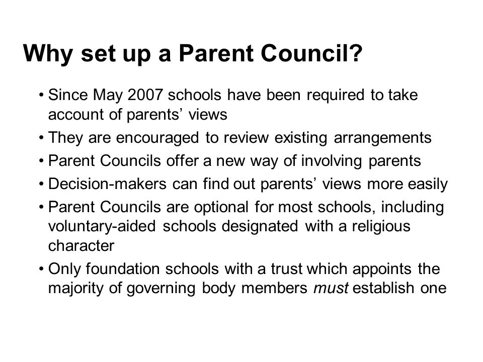 Why set up a Parent Council
