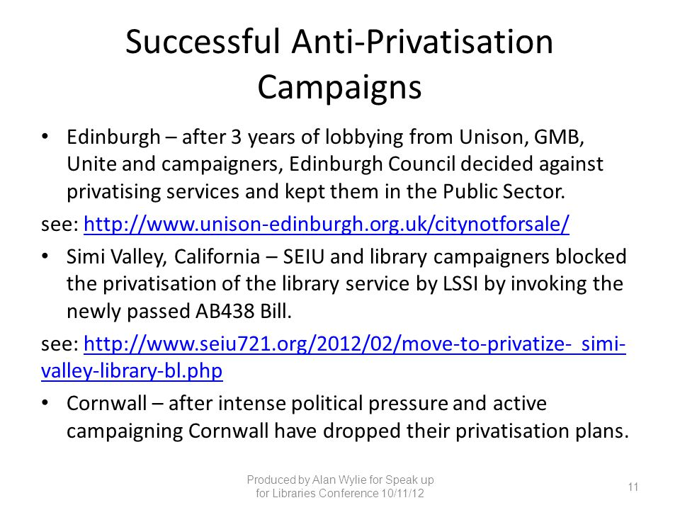 Successful Anti-Privatisation Campaigns