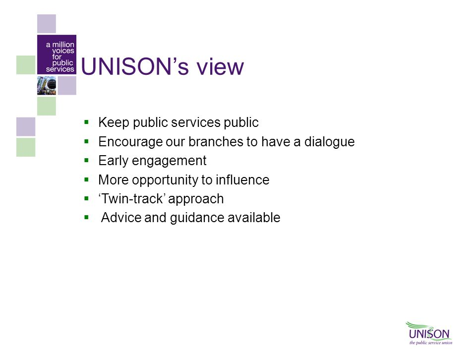 UNISON's view Keep public services public