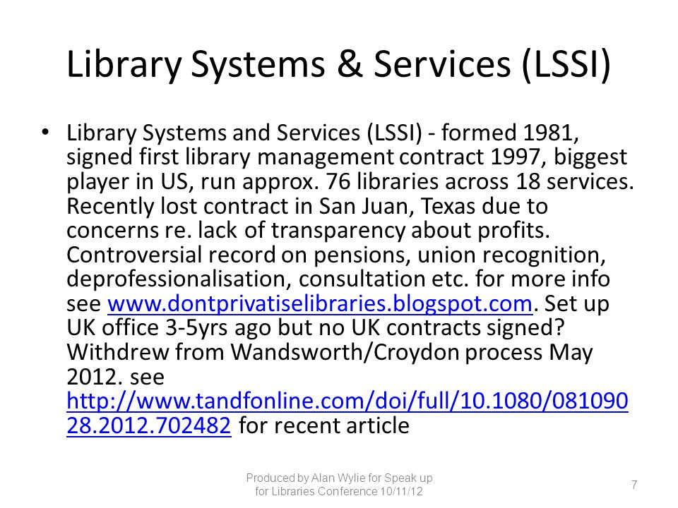 Library Systems & Services (LSSI)