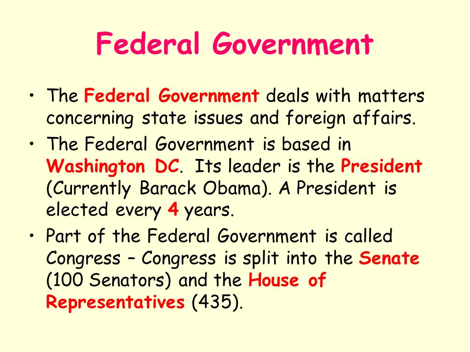 Federal Government The Federal Government deals with matters concerning state issues and foreign affairs.